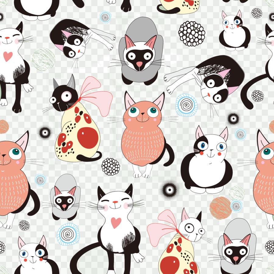 wallpaper kartun,cat,white,cartoon,pattern,nose,head,clip art ...