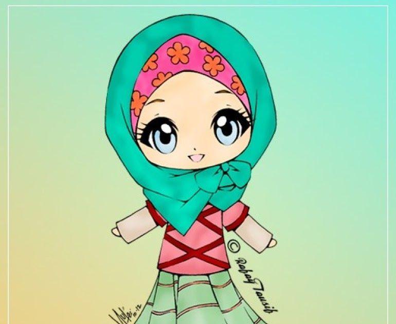 Wallpaper Kartun Muslimah Cartoon Green Text Illustration Pink Line Graphic Design Fictional Character Graphics Font 1813119 Wallpaperkiss