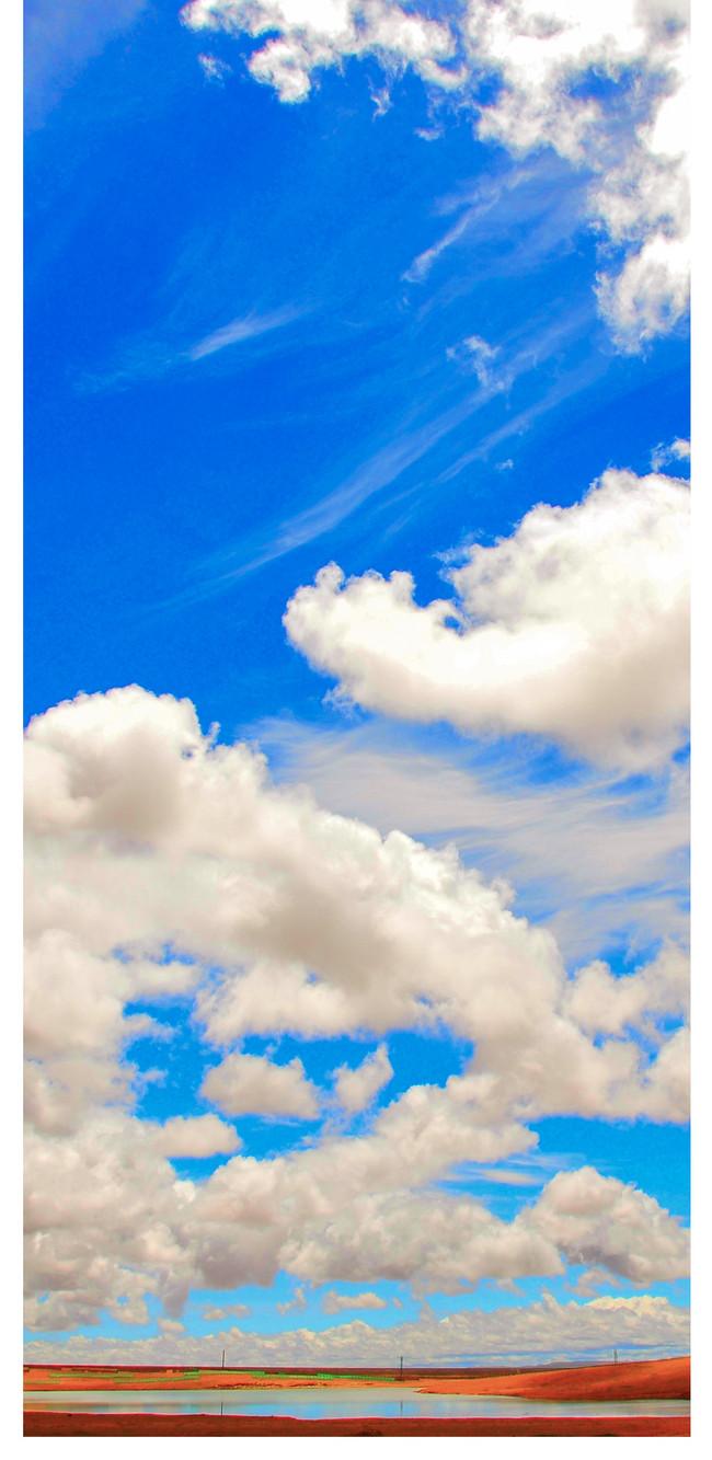 wallpaper awan biru,blue,wall,room,wallpaper,interior design ...